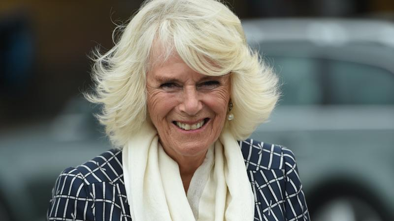 Camilla meets dogs being trained to detect Covid-19