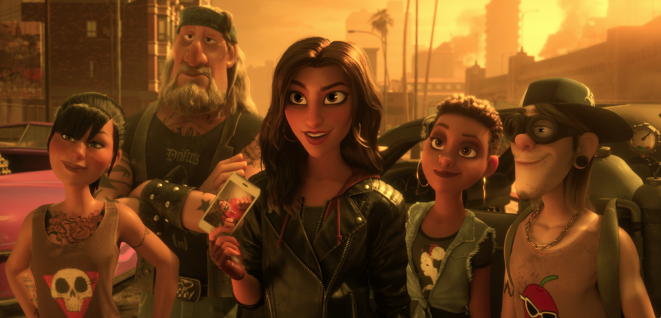 The <i>Slaughter Race</i> team includes Felony (voice of Ali Wong), Butcher Boy (voice of Timothy Simons), Shank (voice of Gal Gadot), Little Debbie (voice of Glozell Green), and Pyro (voice of Hamish Blake). (Image: Disney)