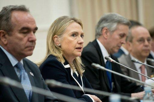 US Secretary of State Hillary Clinton (2nd L) speaks during a meeting with Chinese Foreign Minister Yang Jiechi