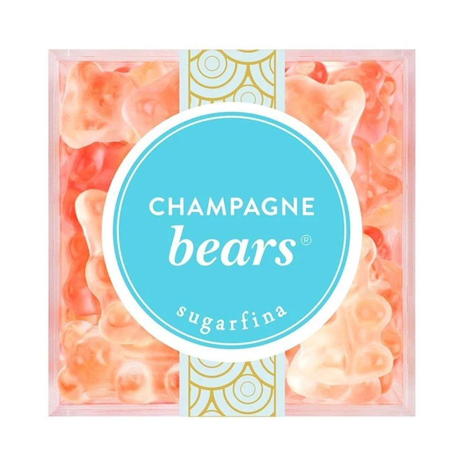 """<p><strong>Sugarfina</strong></p><p>sugarfina.com</p><p><strong>$8.95</strong></p><p><a href=""""https://www.sugarfina.com/champagne-bears/"""" rel=""""nofollow noopener"""" target=""""_blank"""" data-ylk=""""slk:Shop Now"""" class=""""link rapid-noclick-resp"""">Shop Now</a></p><p>Instead of popping open a <a href=""""https://www.bestproducts.com/eats/drinks/g677/best-champagne-for-every-budget/"""" rel=""""nofollow noopener"""" target=""""_blank"""" data-ylk=""""slk:bottle of bubbly"""" class=""""link rapid-noclick-resp"""">bottle of bubbly</a>, impress your sweetie with a box of these <a href=""""https://www.bestproducts.com/eats/food/g877/best-gummy-bears/"""" rel=""""nofollow noopener"""" target=""""_blank"""" data-ylk=""""slk:pretty gummies"""" class=""""link rapid-noclick-resp"""">pretty gummies</a> instead. These tiny bears are made with real Dom Pérignon Vintage Champagne, so get ready to get your sugar buzz on.</p>"""