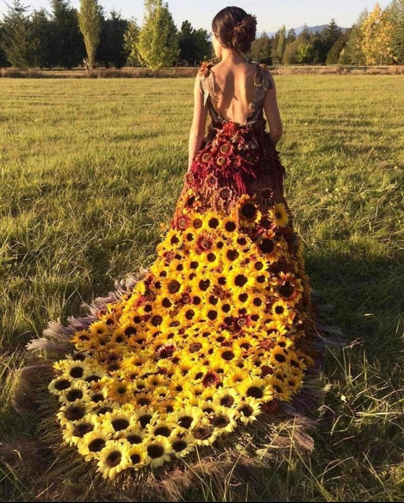 A sunflower-style dress has divided opinions online. Photo: