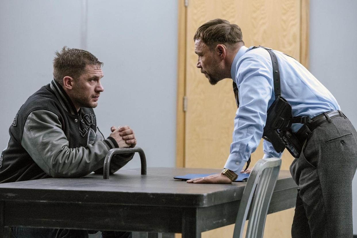 Eddie Brock (Hardy) and Detective Mulligan (Stephen Graham) are on opposite sides of the law in Venom: Let There Be Carnage (Photo: Jay Maidment /© Sony Pictures Releasing / © Marvel Entertainment / Courtesy Everett Collection)