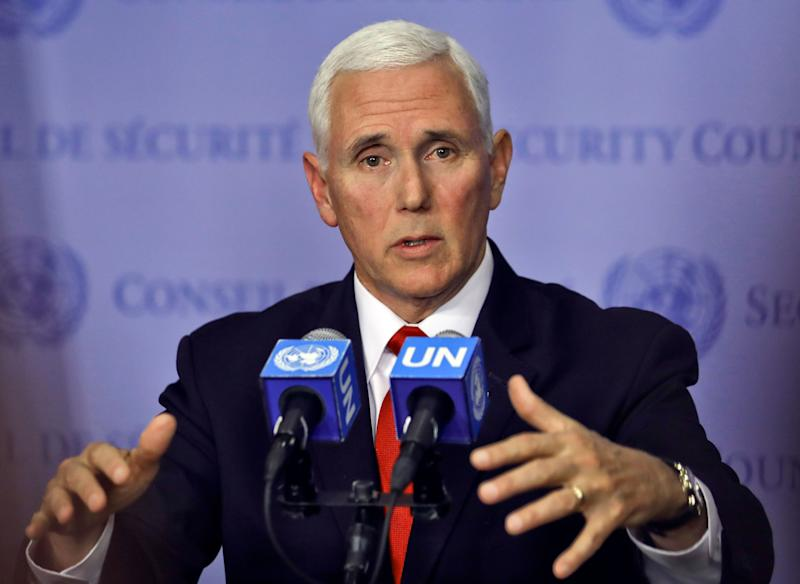 United States Vice President Mike Pence holds a news briefing after addressing the United Nations Security Council on Venezuela, Wednesday April 10, 2019 at U.N. headquarters.