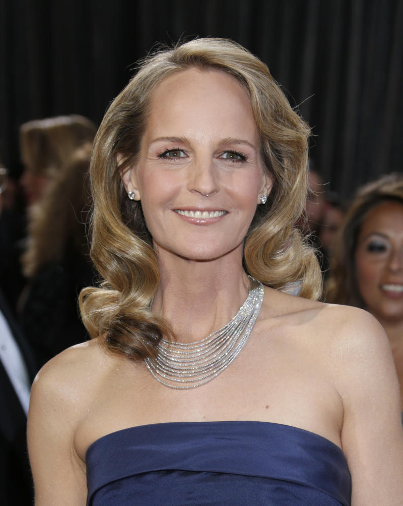 Actress Helen Hunt arrives at the Oscars at the Dolby Theatre on Sunday Feb. 24, 2013, in Los Angeles. (Photo by Todd Williamson/Invision/AP)