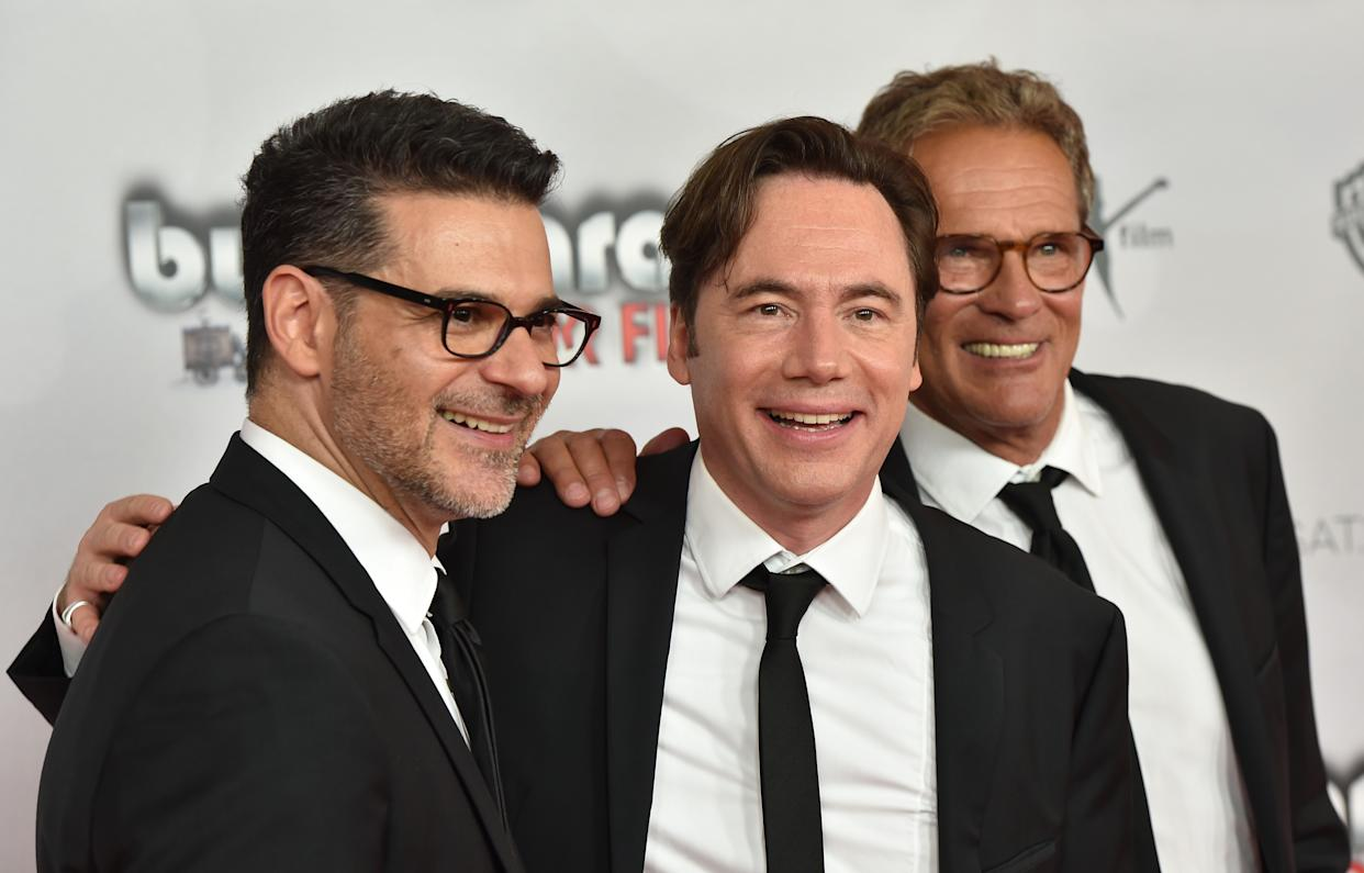 MUNICH, GERMANY - AUGUST 13:  (L-R)  Rick Kavanian, Michael Bully Herbig and Christian Tramitz during 'Bullyparade - Der Film' premiere at Mathaeser Filmpalast on August 13, 2017 in Munich, Germany.  (Photo by Hannes Magerstaedt/Getty Images)