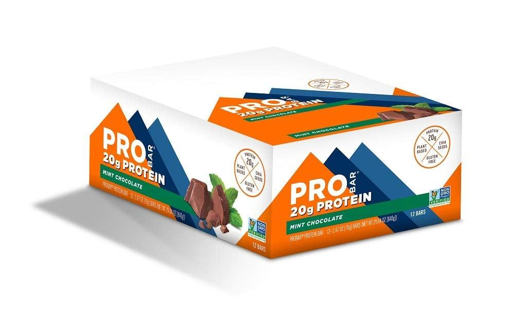 """<p>If you need sustained energy, reach for this <a href=""""https://www.popsugar.com/buy/PROBAR-Base-Protein-Bar-Mint-Chocolate-494174?p_name=PROBAR%20Base%20Protein%20Bar%2C%20Mint%20Chocolate&retailer=amazon.com&pid=494174&price=22&evar1=fit%3Auk&evar9=46677642&evar98=https%3A%2F%2Fwww.popsugar.com%2Ffitness%2Fphoto-gallery%2F46677642%2Fimage%2F46677644%2FPROBAR-Base-Protein-Bar-Mint-Chocolate&list1=shopping%2Camazon%2Chealthy%20snacks%2Csnacks%2Cvegan%2Cprotein%20bars&prop13=api&pdata=1"""" rel=""""nofollow"""" data-shoppable-link=""""1"""" target=""""_blank"""" class=""""ga-track"""" data-ga-category=""""Related"""" data-ga-label=""""https://www.amazon.com/PROBAR-Chocolate-Gluten-Free-Plant-Based-Ingredients/dp/B00B97A468/ref=sr_1_10?keywords=plant+based+protein+bars&amp;qid=1569431598&amp;s=gateway&amp;sr=8-10"""" data-ga-action=""""In-Line Links"""">PROBAR Base Protein Bar, Mint Chocolate</a> ($22 for 12). It's got 20 grams of protein.</p>"""