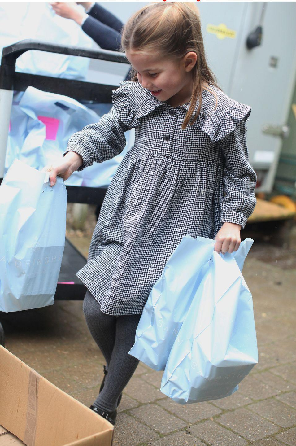 <p>As part of the birthday photos released, the Duchess also snapped Charlotte delivering pasta to vulnerable and isolated neighbours during the Coronavirus pandemic.</p>