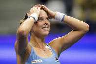 Shelby Rogers, of the United States, reacts after defeating Ashleigh Barty, of Australia, during the third round of the US Open tennis championships, Saturday, Sept. 4, 2021, in New York. (AP Photo/Frank Franklin II)