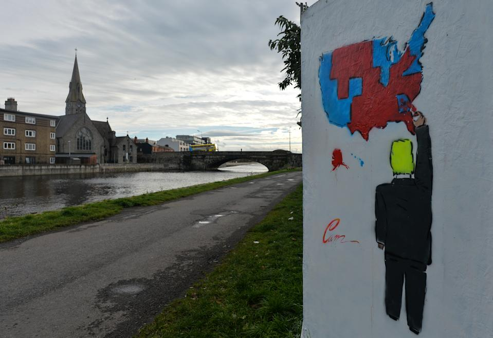 A graffiti with the US President Donald Trump, located at the Grand Canal in Dublin's city centre on November 17, 2020, in Dublin, Ireland. (Artur Widak/NurPhoto via Getty Images)