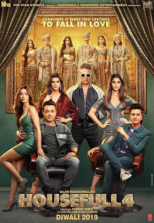 Starring Akshay Kumar, Riteish Deshmukh, Bobby Deol, Kriti Sanon, Kriti Kharbanda and Pooja Hegde it is based on a confusing plot of reincarnation after 600 years. A set of three brothers are due to marry a set of three sisters, until one of the brothers starts to realize that they are all reincarnations from 600 years earlier and the wrong couples are about to get married.