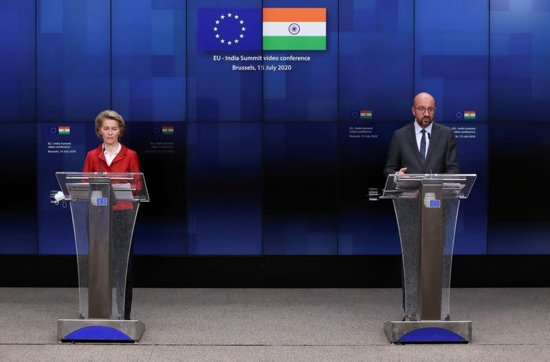 FILE PHOTO: European Council President Charles Michel and European Commission President Ursula von der Leyen speak during a news conference after a virtual summit with Indian Prime Minister Narendra Modi, in Brussels