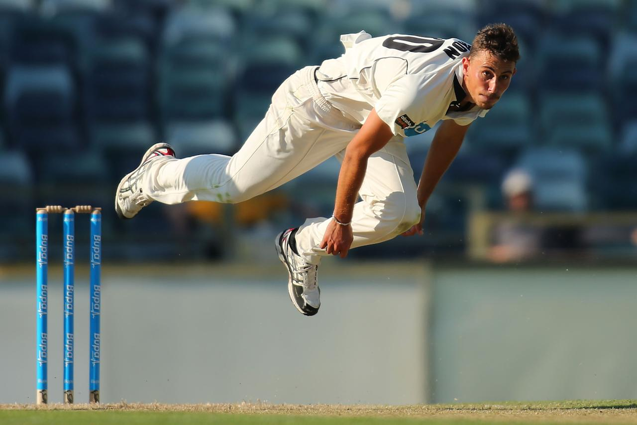 PERTH, AUSTRALIA - NOVEMBER 01:  Matt Dixon of the the WA Chairman's XI bowls during day two of the Tour match between the WA Chairman's XI and England at WACA on November 1, 2013 in Perth, Australia.  (Photo by Paul Kane/Getty Images)