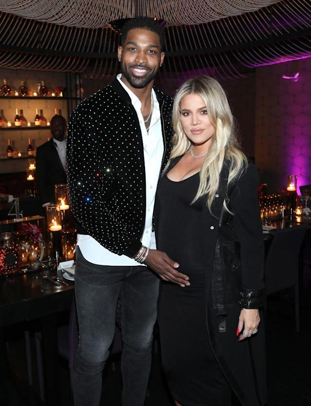 Tristan Thompson and Khloe Kardashian in February 2018. (Photo by Jerritt Clark/Getty Images for Klutch Sports Group)