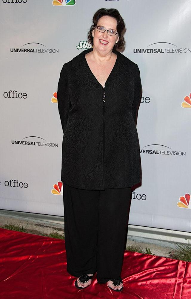 """Phyllis Smith arrives at """"The Office"""" series finale wrap party at Unici Casa Gallery on March 16, 2013 in Culver City, California."""