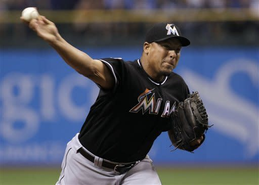 Miami Marlins starting pitcher Carlos Zambrano delivers to the Tampa Bay Rays in the first inning during an interleague baseball game Friday, June 15, 2012, in St. Petersburg, Fla. (AP Photo/Chris O'Meara)