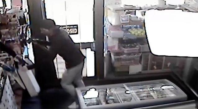 One robber threw the till over the counter, but the other man could not catch it. Source: Victoria Police