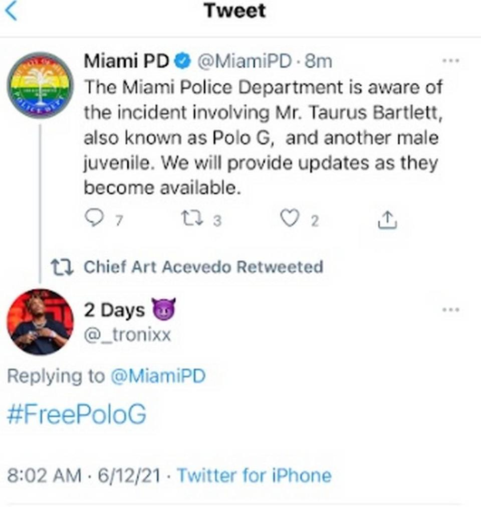 Comment section on Miami Police tweet about rapper Polo G in Miami on June 12, 2021.