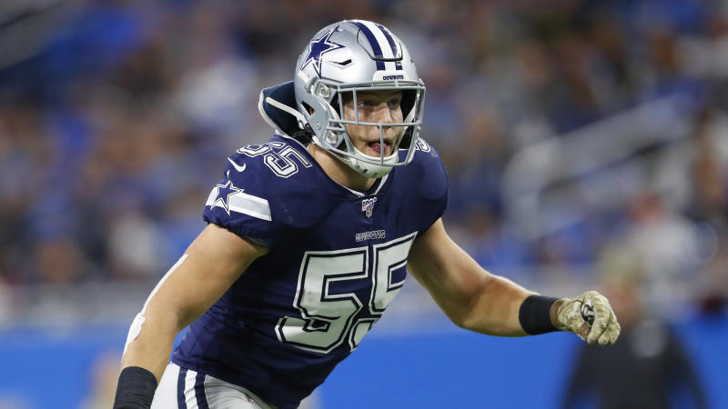 Dallas Cowboys linebacker Leighton Vander Esch will miss Sunday's game against New England. (AP/Paul Sancya)