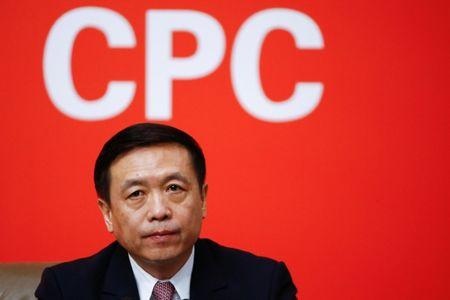Vice Minister of the State Administration of Press, Publication, Radio, Film and Television Zhang Hongsen attends a news conference during the 19th National Congress of the Communist Party of China in Beijing