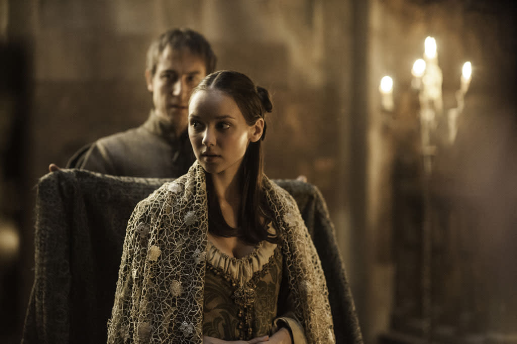 "Tobias Menzies and Roslyn Frey in the ""Game of Thrones"" episode, ""The Rains of Castamere."""