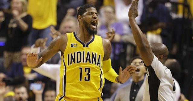 """<a class=""""link rapid-noclick-resp"""" href=""""/nba/teams/ind/"""" data-ylk=""""slk:Indiana Pacers"""">Indiana Pacers</a>' <a class=""""link rapid-noclick-resp"""" href=""""/nba/players/4725/"""" data-ylk=""""slk:Paul George"""">Paul George</a> was traded. But not where everyone thought he was going. (AP Photo/Michael Conroy)"""