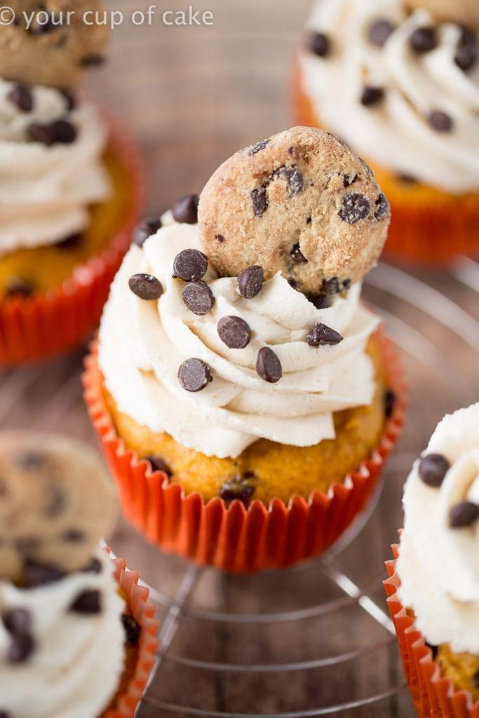 """<p>This sweet treat brings you the best flavors ever: pumpkin and cookie dough. A mini chocolate chip cookies seals the deal. </p><p><strong> <a href=""""https://www.yourcupofcake.com/2016/10/pumpkin-cookie-dough-cupcakes.html"""" rel=""""nofollow noopener"""" target=""""_blank"""" data-ylk=""""slk:Get the recipe at Your Cup of Cake"""" class=""""link rapid-noclick-resp"""">Get the recipe at Your Cup of Cake</a>.</strong></p>"""