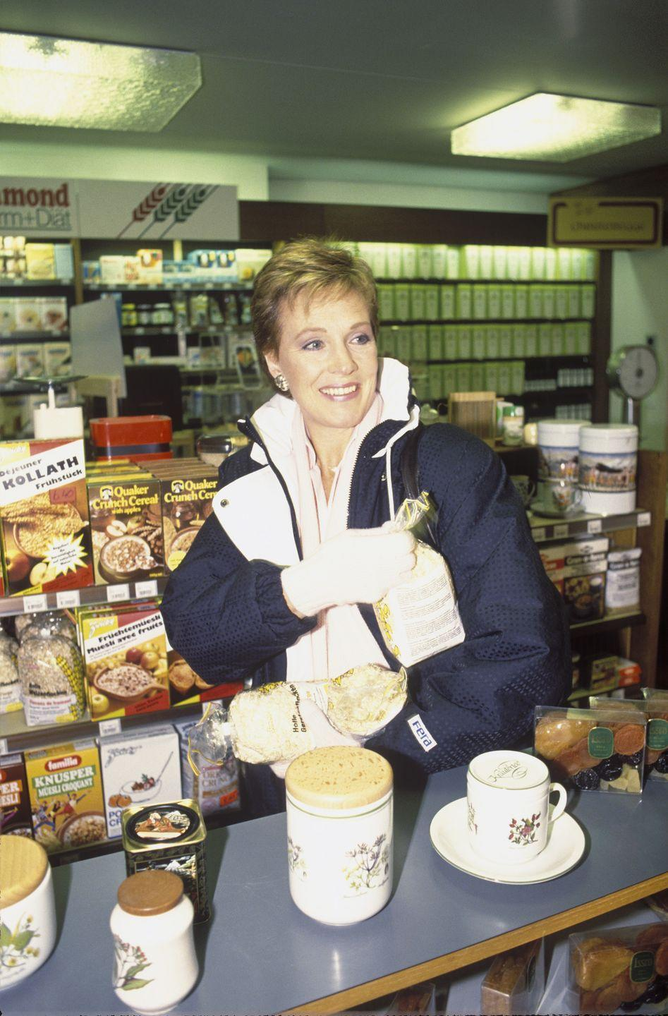 <p>The legendary actress visits her local grocery in Gstaad, Switzerland for provisions while spending the Christmas season abroad with her children and husband, Blake Edwards. </p>