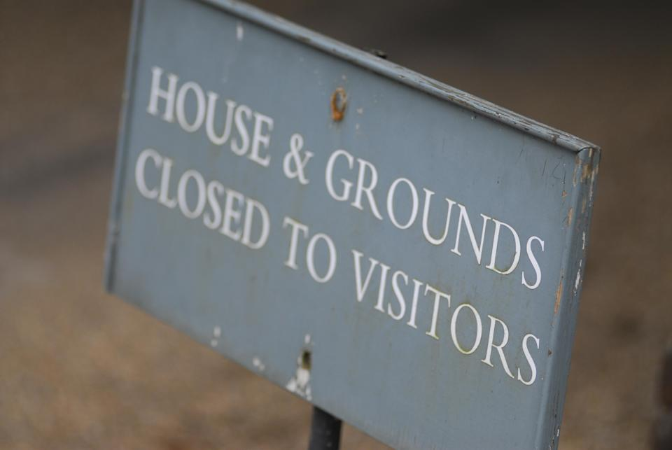 An old 'Closed to Visitors' sign at West Wycombe Park, Buckinghamshire