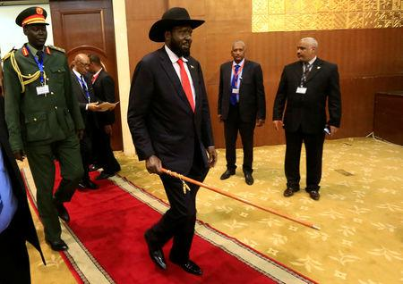 South Sudan's President Salva Kiir arrives for the signing of a cease fire and power sharing agreement with South Sudan's rebel leader Riek Machar in Khartoum, Sudan August 5, 2018. REUTERS/Mohamed Nureldin Abdallah