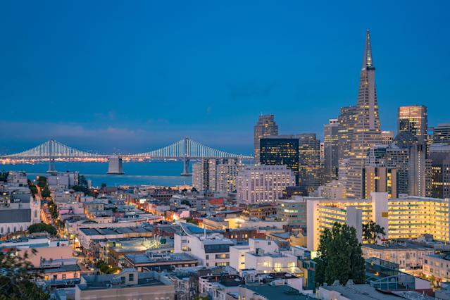 San Francisco at night, view from Telegraph Hill. Photo: Getty