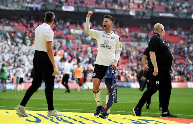 "Soccer Football - Championship Play-Off Final - Fulham vs Aston Villa - Wembley Stadium, London, Britain - May 26, 2018 Fulham's Oliver Norwood celebrates promotion to the Premier League Action Images via Reuters/Tony O'Brien EDITORIAL USE ONLY. No use with unauthorized audio, video, data, fixture lists, club/league logos or ""live"" services. Online in-match use limited to 75 images, no video emulation. No use in betting, games or single club/league/player publications. Please contact your account representative for further details."