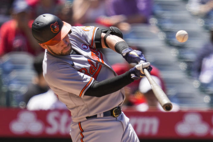 Baltimore Orioles' Austin Wynns (61) lines out during the fifth inning of a baseball game against the Los Angeles Angels Sunday, July 4, 2021, in Anaheim, Calif. (AP Photo/Ashley Landis)