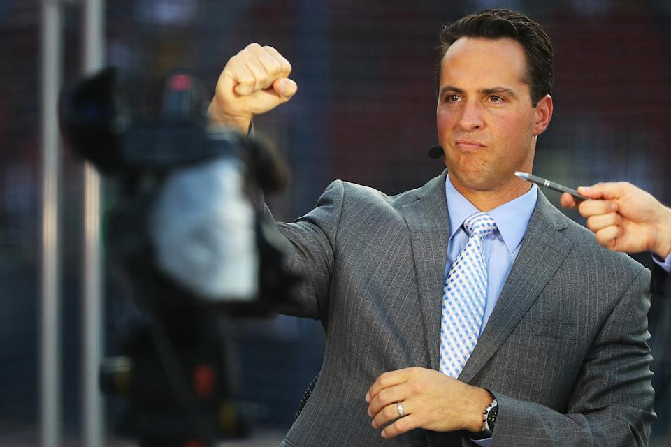 For a guy who doesn't play baseball anymore, Mark Teixeira sure has a lot of opinions on what baseball players should be paid for risking their lives. (Photo by Adam Glanzman/Getty Images)