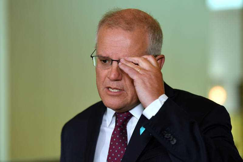 Prime Minister Scott Morrison at a press conference to answer sexual assault allegations made by staffer Brittany Higgins against a male staffer at Parliament House in Canberra.