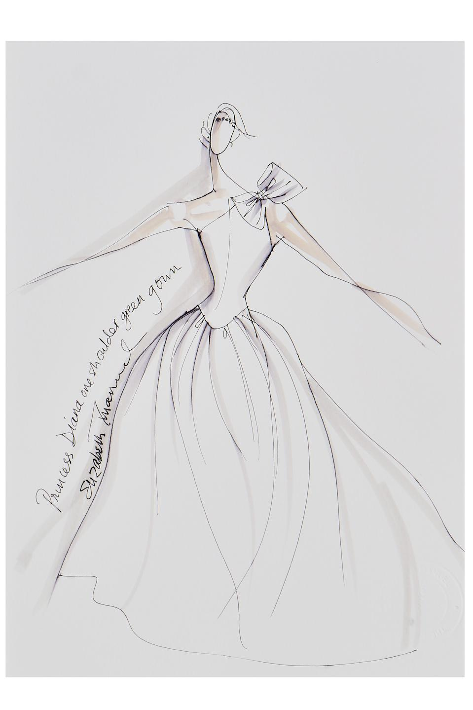 Elizabeth Emanuel sketch of Princess Diana's 1985 green silk evening gown. (Kerry Taylor auctions)