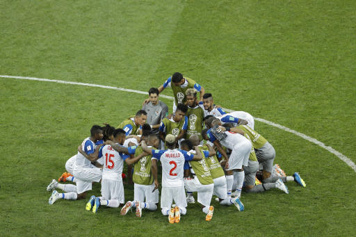 Panama players gather in a circle at the end of the group G match between Belgium and Panama at the 2018 soccer World Cup in the Fisht Stadium in Sochi, Russia, Monday, June 18, 2018. Belgium won 3-0. (AP Photo/Victor R. Caivano)