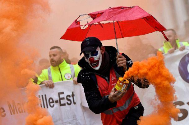 PHOTO: A man takes part in a demonstration to protest against the pension overhauls, in Marseille, France, Dec. 5, 2019. (Clement Mahoudeau/AFP via Getty Images)