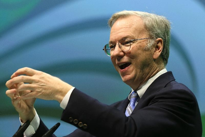 Eric Schmidt, Executive Chairman of Google, speaks during the NOAH Internet Conference, at the Tempodrom in Berlin, Germany, on June 10, 2015 (AFP Photo/Stephanie Pilick)