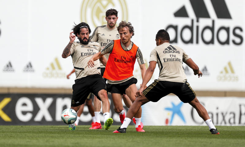 MADRID, SPAIN - JUNE 02: Luka Modric (C), Isco (L) and Casemiro of Real Madrid during a during a training session at Valdebebas training ground on June 2, 2020 in Madrid, Spain. (Photo by Antonio Villalba/Real Madrid via Getty Images)