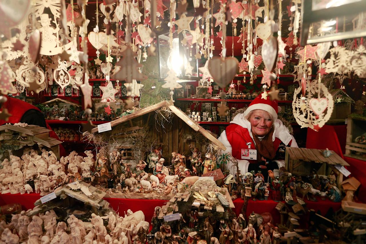 NUREMBERG, GERMANY - NOVEMBER 30:  Christmas decorations hang for sale at a stand at the traditional Christmas market 'Nuernberger Christkindlesmarkt' ahead of the opening ceremony on November 30, 2012 in Nuremberg, Germany. Originated in the 16th century the Nuremberg Christmas market is seen as one of the oldest of its kind in Germany.  (Photo by Johannes Simon/Getty Images)