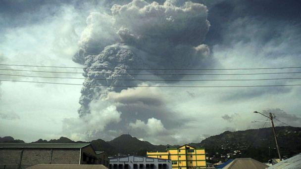 PHOTO: Ash and smoke billow as the La Soufriere volcano erupts in Kingstown on the eastern Caribbean island of St. Vincent April 9, 2021.  (Robertson S. Henr/Reuters)