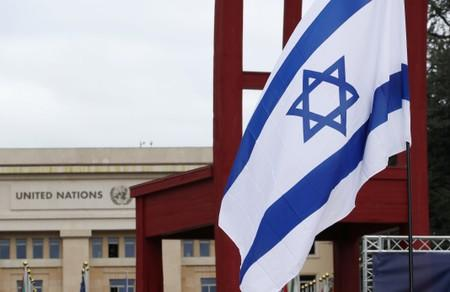 FILE PHOTO: A flag of Israel  is pictured at the United Nations in Geneva