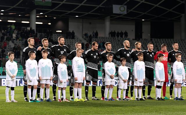 Soccer Football - International Friendly - Slovenia vs Belarus - Stozice Stadium, Ljubljana, Slovenia - March 27, 2018 Belarus line up during the national anthems REUTERS/Borut Zivulovic