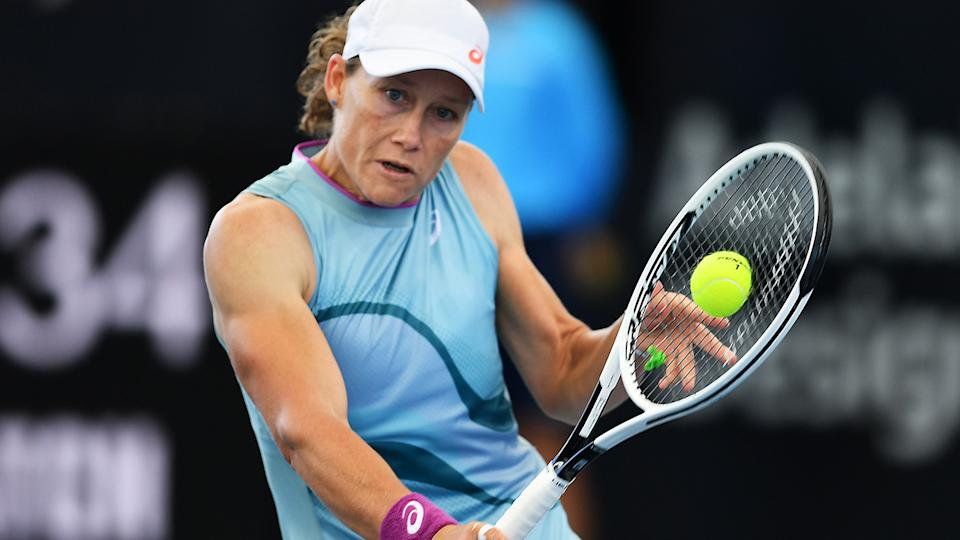 Samantha Stosur, pictured here in action at the Adelaide International in February.