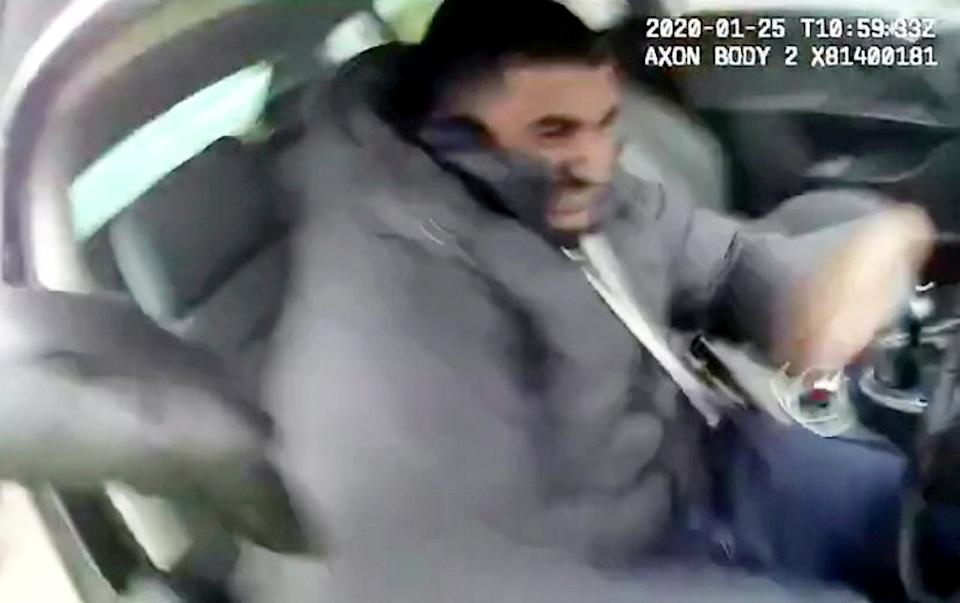 Muhammad Nadeem floored the accelerator, dragging PCSO Kieron Poole for 30ft as he tried to grab the keys. (SWNS)
