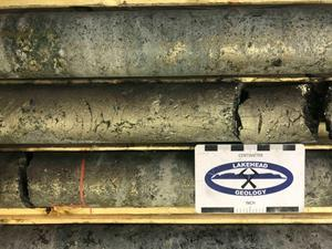 Marathon Project – Photograph of massive sulphides from Hole M-20-543 interval 433-449 m