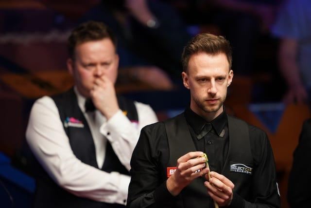 There was little to separate Judd Trump, right, and Shaun Murphy