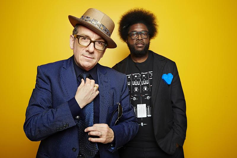 "From left, English singer-songwriter Elvis Costello poses for a portrait with drummer Ahmir ""Questlove"" Thompson of ""The Roots,"" in promotion of their upcoming album ""Wise Up Ghost,"" Tuesday, May 21, 2013, in New York. (Photo by Dan Hallman/Invision/AP)"