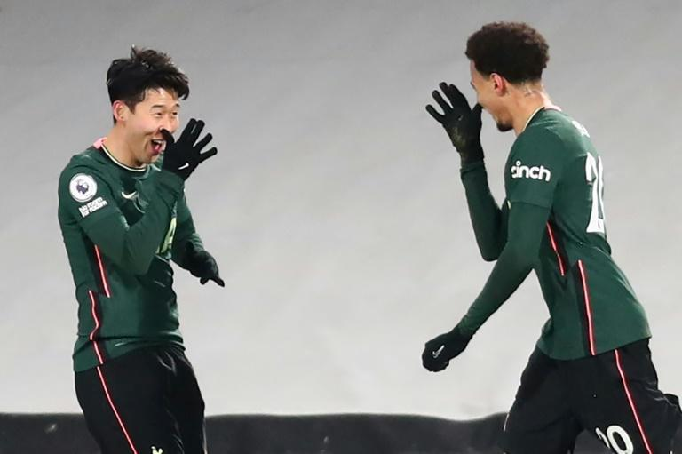 Half the fab four: Son Heung-min (left) and Dele Alli (right) combined for Tottenham's opening goal at Fulham
