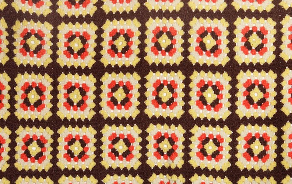 "<p>These throws were crocheted in a repeating ""granny"" square pattern, using colors that clashed. Often made from scratchy wool, they were better tossed over the back of the couch than used to cover up with during movie night.</p>"